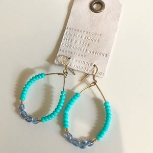 Anthropologie Blue Drop Bead Earrings Gold Loop